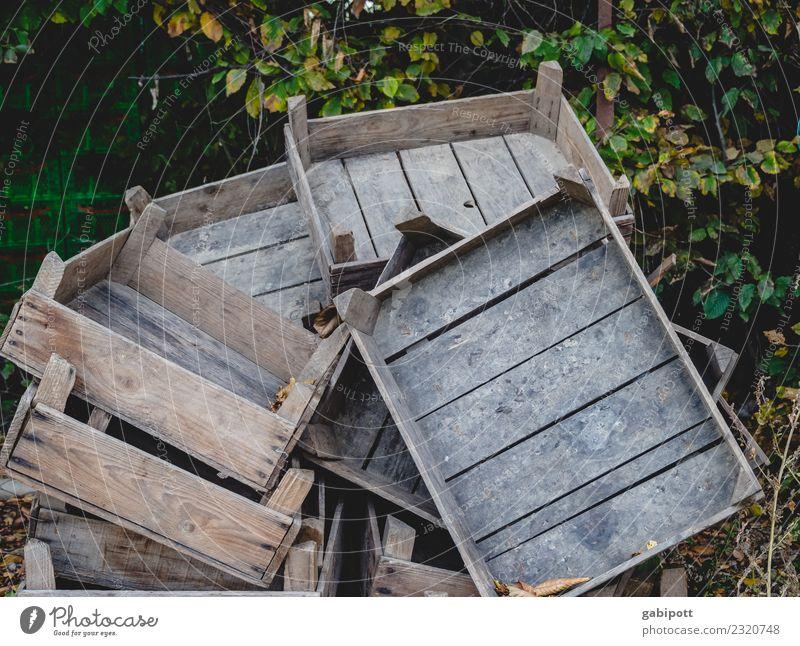 gestapelte Holzkisten Gartenarbeit Feld Wirtschaft Landwirtschaft Forstwirtschaft Handel Güterverkehr & Logistik Landschaft Urelemente Erde alt Obstkiste Stapel