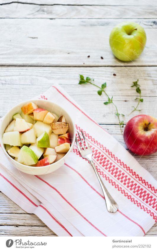 Morgenfrische Lebensmittel Frucht Apfel Ernährung Frühstück Bioprodukte Vegetarische Ernährung Diät Slowfood Schalen & Schüsseln Gabel Gesundheit hell lecker