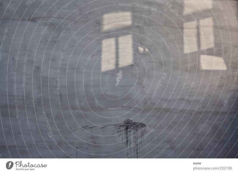 Doppelfenster Gebäude Mauer Wand Fassade Fenster Beton authentisch einfach trist trocken grau Lichteinfall Fleck Silhouette Hintergrundbild Farbfoto