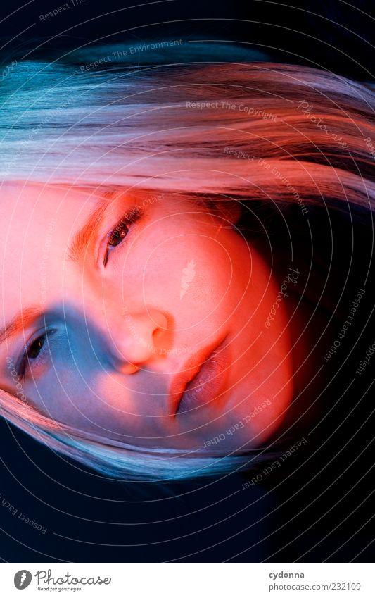 Sunset Mensch Jugendliche blau schön rot ruhig Erwachsene Gesicht Gefühle Haare & Frisuren Stil blond elegant ästhetisch Lifestyle einzigartig