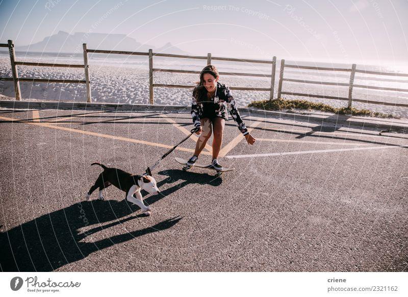 Glückliches junges erwachsenes Hipstermädchen auf Skateboard mit Welpe Freude Spielen Sommer Strand Frau Erwachsene Familie & Verwandtschaft Freundschaft