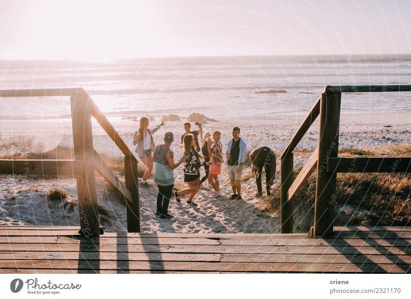 Hipster-Freunde beim Jubeln und Tanzen auf der Beach-Party Getränk trinken Alkohol Bier Freude Glück Freizeit & Hobby Ferien & Urlaub & Reisen Freiheit Sommer