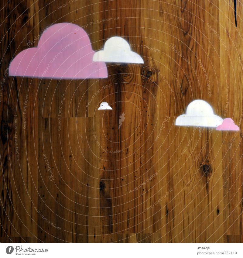 Bewölkt weiß Wolken Graffiti Holz Wetter braun außergewöhnlich violett Zeichen bizarr Holzwand Grafik u. Illustration Strukturen & Formen