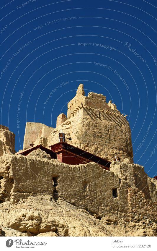 Antikes Schloss in Tibet Ferien & Urlaub & Reisen Freiheit Sightseeing Berge u. Gebirge Landschaft Himmel Wolkenloser Himmel Ruine Gebäude Architektur Dach