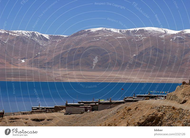 Natur Himmel weiß blau Winter Ferien & Urlaub & Reisen Haus Ferne Schnee Berge u. Gebirge See Landschaft Umwelt Tourismus Häusliches Leben natürlich