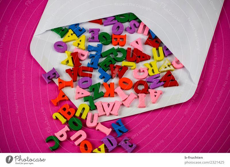 Briefgeheimnis Büroarbeit Post Business sprechen Papier Schriftzeichen Kommunizieren mehrfarbig rosa Bildung geheimnisvoll Idee Überraschung Briefumschlag
