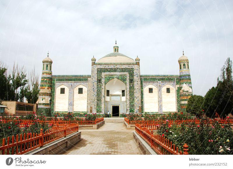 Islamische Moschee Tourismus Kultur Landschaft Pflanze Himmel Wolken Rose Garten Kirche Gebäude Architektur alt historisch grün weiß Religion & Glaube Tradition