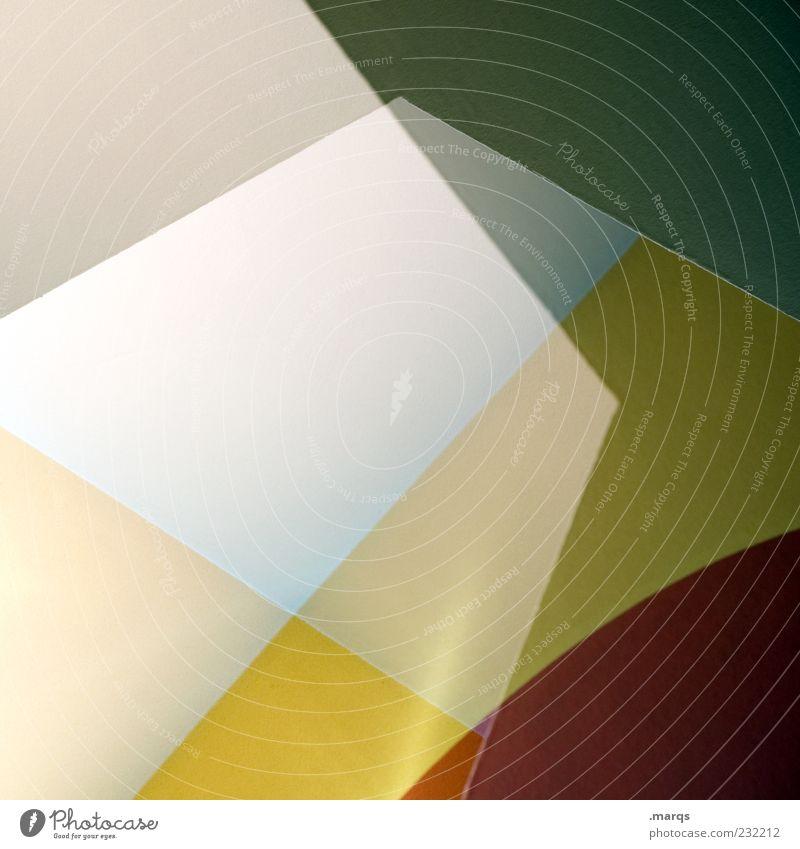 Angle grün rot Farbe gelb Stil Linie Design außergewöhnlich Perspektive Coolness rund Grafik u. Illustration abstrakt Doppelbelichtung Muster eckig