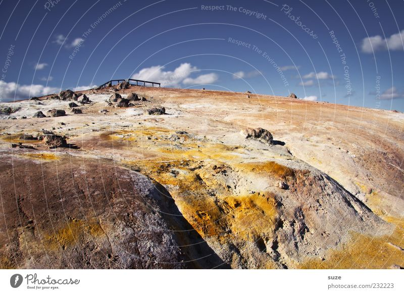 Schwefelhang Himmel Natur Ferien & Urlaub & Reisen Wolken gelb Umwelt Landschaft Berge u. Gebirge Sand Stein Erde Felsen Klima außergewöhnlich Reisefotografie Urelemente