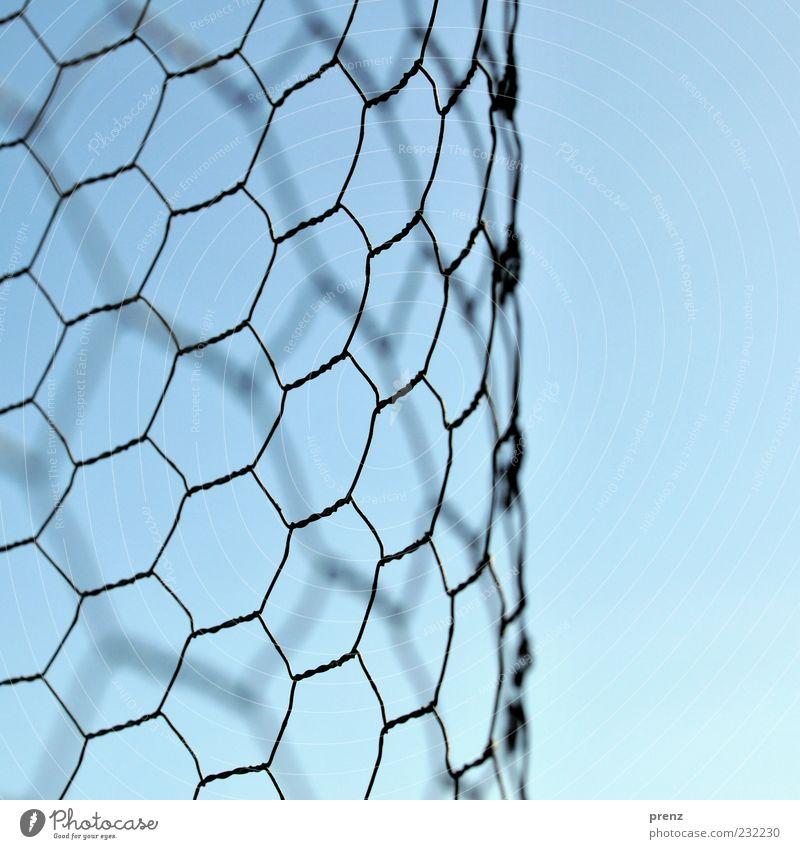 maschen Umwelt Luft Himmel Metall Linie blau grau schwarz Draht Maschendraht Maschendrahtzaun Wabe geschwungen Strukturen & Formen Farbfoto Außenaufnahme