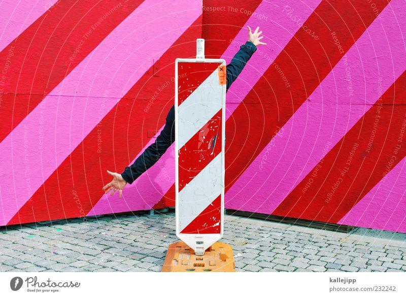opportunist Mensch Hand rot rosa Arme Schilder & Markierungen stehen gut Hinweisschild Baustelle Beratung diagonal verstecken Richtung Wirtschaft Leben