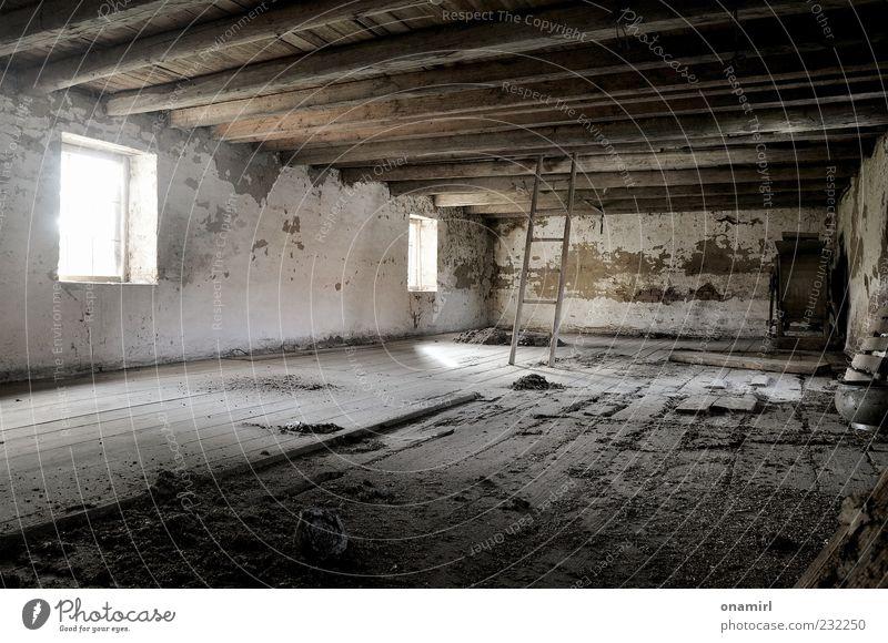 zuhause ist es doch am schönsten! alt dunkel Wand Mauer Gebäude Raum Armut kaputt gruselig trashig schäbig Ruine Leiter Unbewohnt Decke abblättern