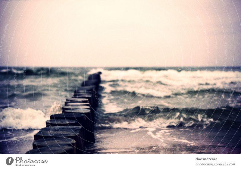 Bleibst du jetzt hier? Umwelt Wasser Wolkenloser Himmel Wellen Küste Strand violett Buhne Cross Processing Vignettierung analog Romantik Sehnsucht Meer Ostsee
