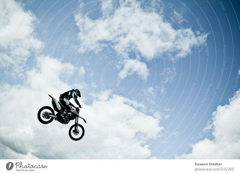 wwwrrrruuummmm Mann Natur Himmel Wolken Sport springen Freiheit Luft Erwachsene fliegen Luftverkehr fahren Motorrad Sportveranstaltung Schönes Wetter Sportler