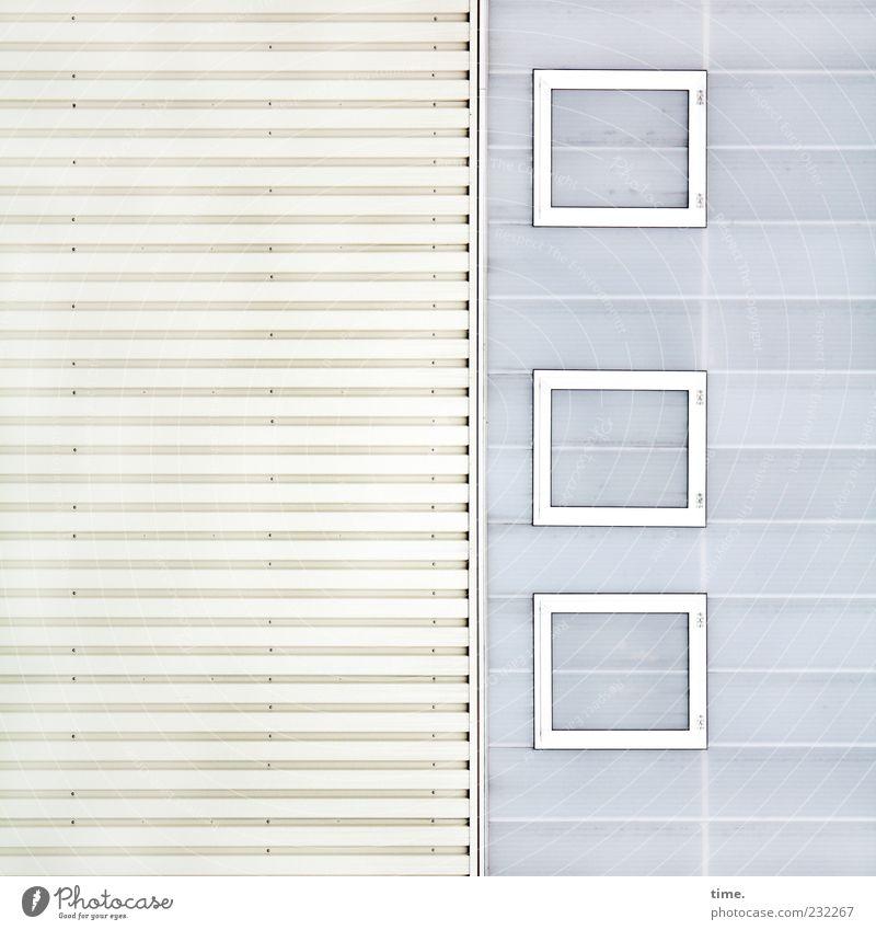 jalaesque weiß Fenster Wand grau Mauer Gebäude Fassade Rahmen Symmetrie Blech eckig seriös Rechteck Lamelle hell-blau Muster