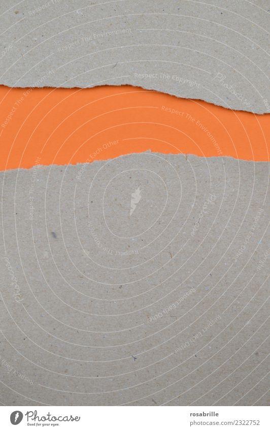 Packpapier mit Riß auf leerem orangenem Papier Kunst Buch Zettel Verpackung Riss Karton Farbkarton Schilder & Markierungen Streifen Schnur entdecken Neugier