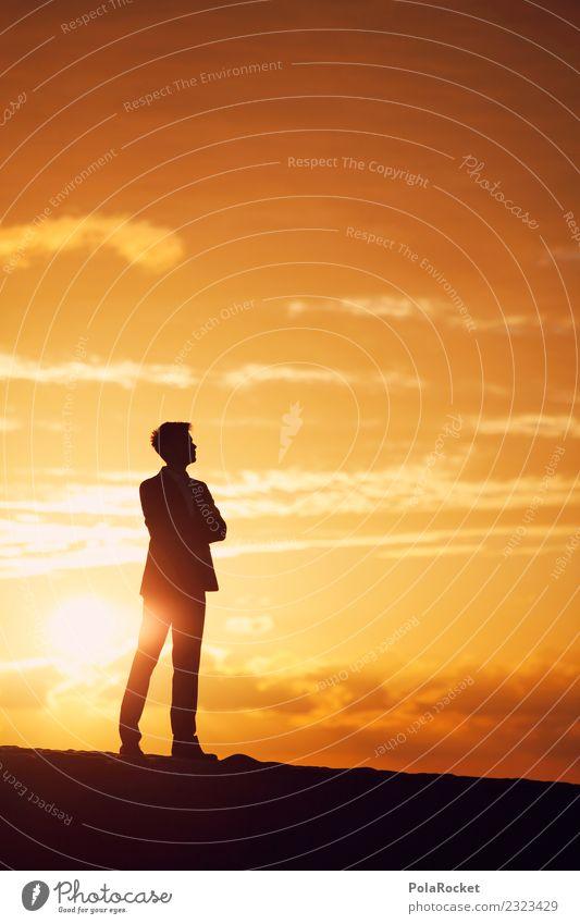 #AS# Traum vom BigFish Sonne Religion & Glaube gelb Wege & Pfade Business orange maskulin träumen Hoffnung Zukunftsangst Futurismus Beruf Wunsch Karriere Anzug