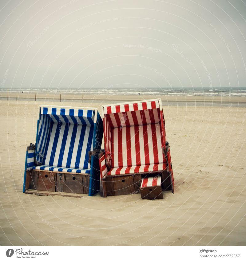 doppeltes lottchen Ferien & Urlaub & Reisen Tourismus Strand Meer Natur Landschaft Urelemente Sand Wasser schlechtes Wetter Küste Nordsee Erholung Strandkorb