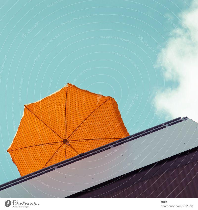 Balkonien Himmel blau Ferien & Urlaub & Reisen Sommer Wolken orange Schönes Wetter Sonnenschirm Wetterschutz
