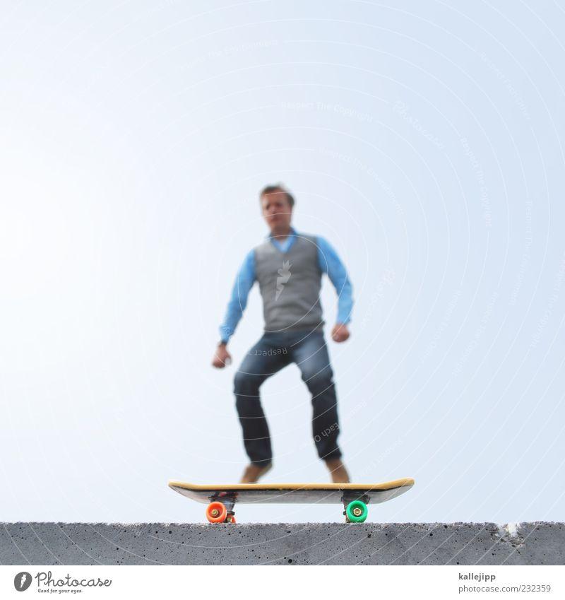 von der rolle Mensch Mann Erwachsene Leben Sport Spielen klein Stil Mauer Freizeit & Hobby maskulin Perspektive Lifestyle fahren Jeanshose Fitness