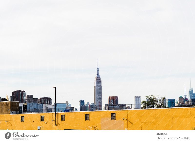 Manhattan Skyline mit Empire State Building Stadt New York City gelbe wand Mauer Farbfoto Textfreiraum oben