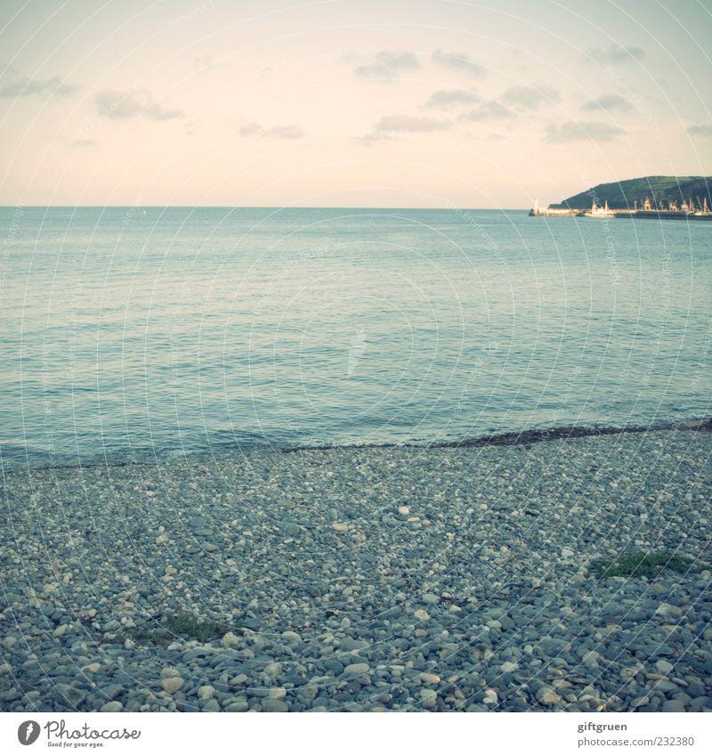 dreierlei Umwelt Natur Landschaft Urelemente Wasser Himmel Wolken Horizont Sommer Wetter Schönes Wetter Wellen Küste Strand Meer Insel ruhig Cornwall England