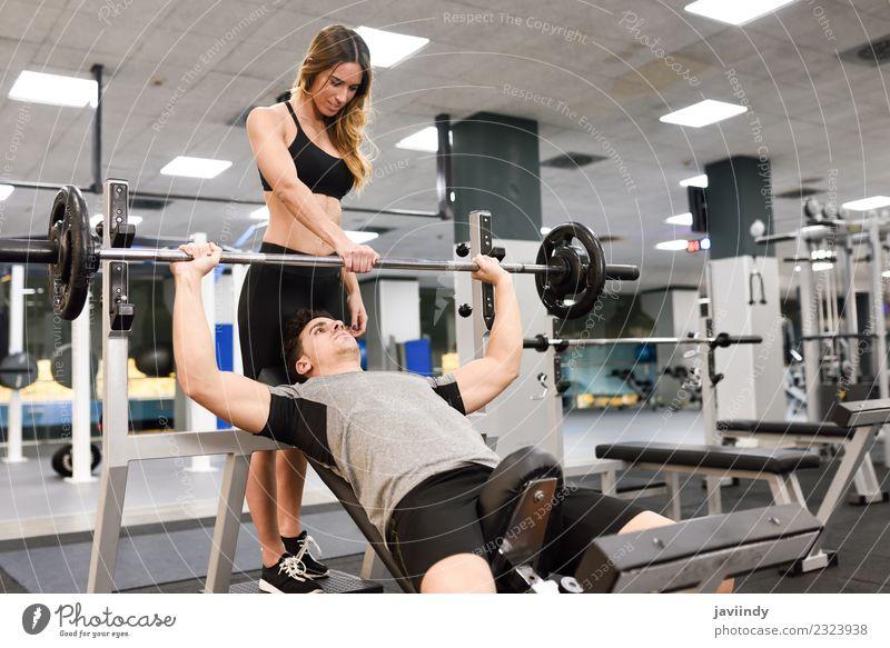 Frau Mensch Jugendliche Mann Junge Frau Junger Mann weiß 18-30 Jahre Erwachsene Lifestyle Sport Körper Kraft Fitness stark anstrengen