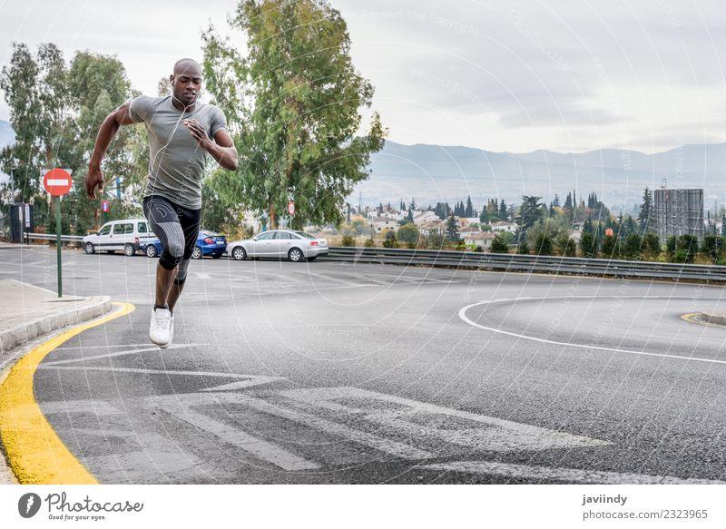 Mensch Jugendliche Mann Junger Mann 18-30 Jahre schwarz Erwachsene Lifestyle Sport maskulin Körper Fitness Kopfhörer muskulös Typ Läufer