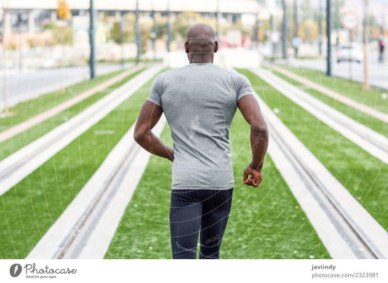 Mensch Jugendliche Mann Junger Mann 18-30 Jahre schwarz Erwachsene Lifestyle Sport maskulin Körper Aktion Fitness muskulös Typ Läufer