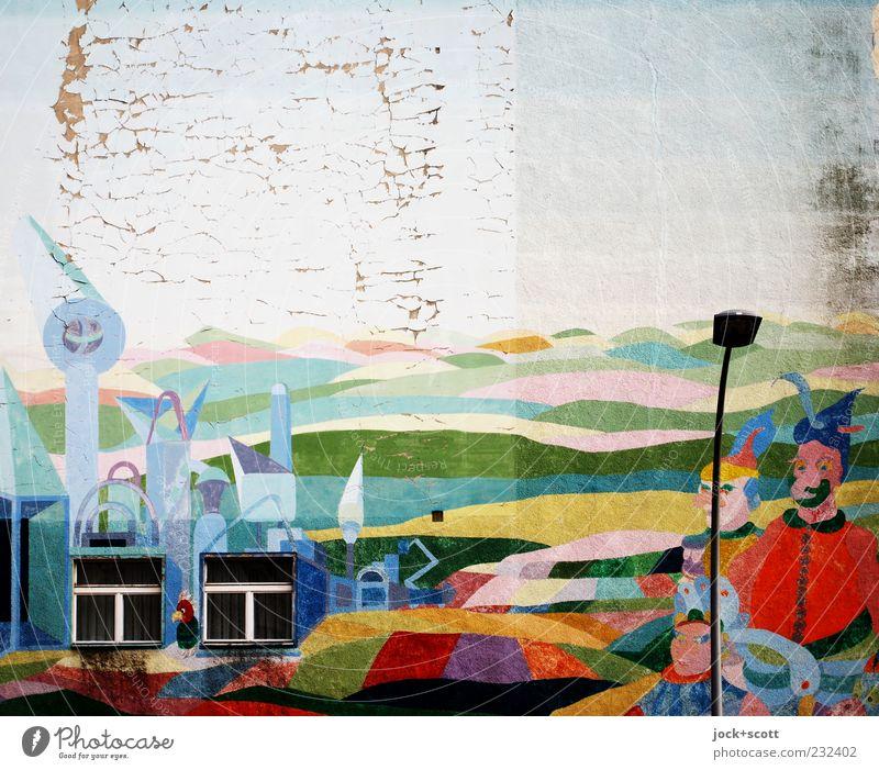Freiraum für Groß und Klein Stadt Fenster Graffiti Freiheit Stein Linie Horizont Fassade Zusammensein Häusliches Leben Dekoration & Verzierung Fröhlichkeit ästhetisch beobachten Zeichen Kitsch