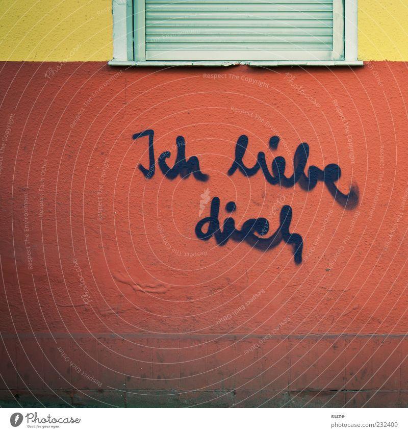Hausfreund rot Fenster Liebe Graffiti Wand Gefühle Mauer Fassade authentisch Schriftzeichen Romantik Typographie trashig Putz Text