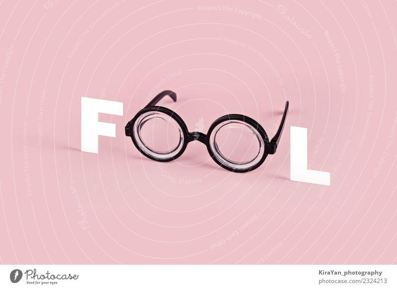 Lustige Brille mit runder Brille auf rosa Hintergrund Stil Freude Entertainment Auge Mode Accessoire Kunststoff lustig modern Farbe Idee Surrealismus