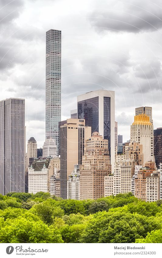 Manhattan Stadtlandschaft, New York City, USA Häusliches Leben Wohnung Büro Himmel Gewitterwolken Baum Park Stadtzentrum Skyline Haus Hochhaus Bankgebäude