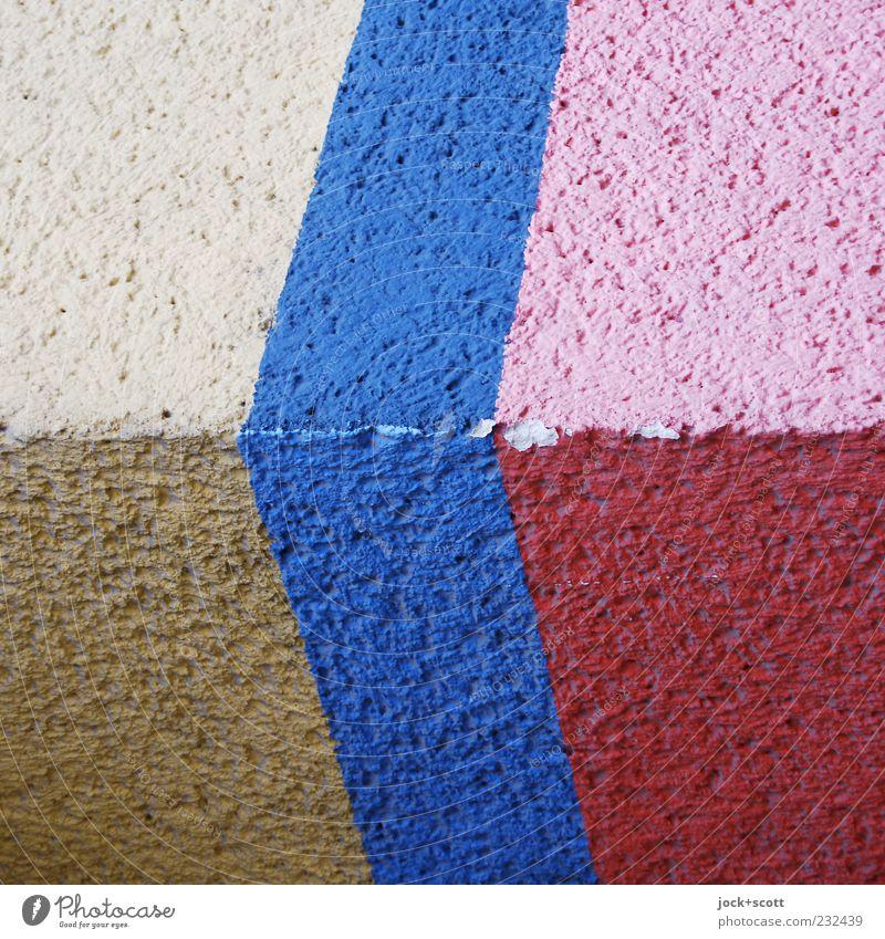 Chupze Wand Dekoration & Verzierung Streifen blau braun rosa rot weiß Farbe abgeplatzt Farbanstrich Oberflächenstruktur gestrichen uneben Zahn der Zeit