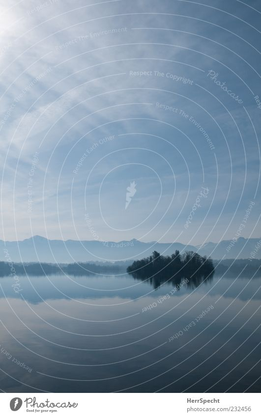 Blaues Land Natur Landschaft Wasser Himmel Horizont Schönes Wetter Alpen Berge u. Gebirge Seeufer ästhetisch frisch kalt schön blau grau Erholung Ewigkeit