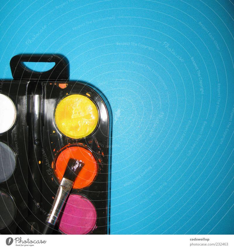 farbtheorie blau schwarz gelb Kunst orange Kindheit violett malen Kreativität zeichnen Pinsel Kultur Anschnitt mehrfarbig Wasserfarbe Farbkasten