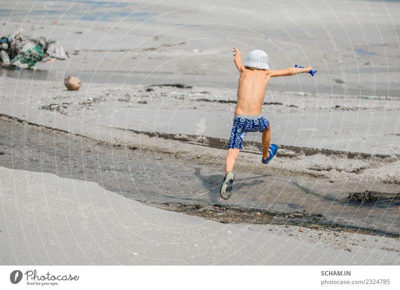 Kind Mensch Sommer Landschaft Meer Freude Lifestyle Junge Spielen Zusammensein Kindheit Lächeln Fröhlichkeit Insel Asien Hut