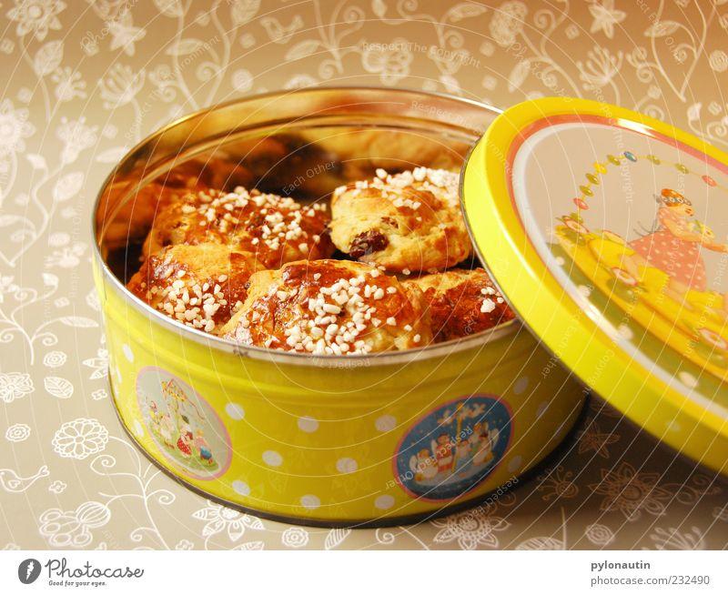 Rosinenbrötchendose gelb grau Lebensmittel Dekoration & Verzierung gold offen Ernährung lecker Süßwaren Duft Kuchen Schalen & Schüsseln Backwaren Teigwaren Dose