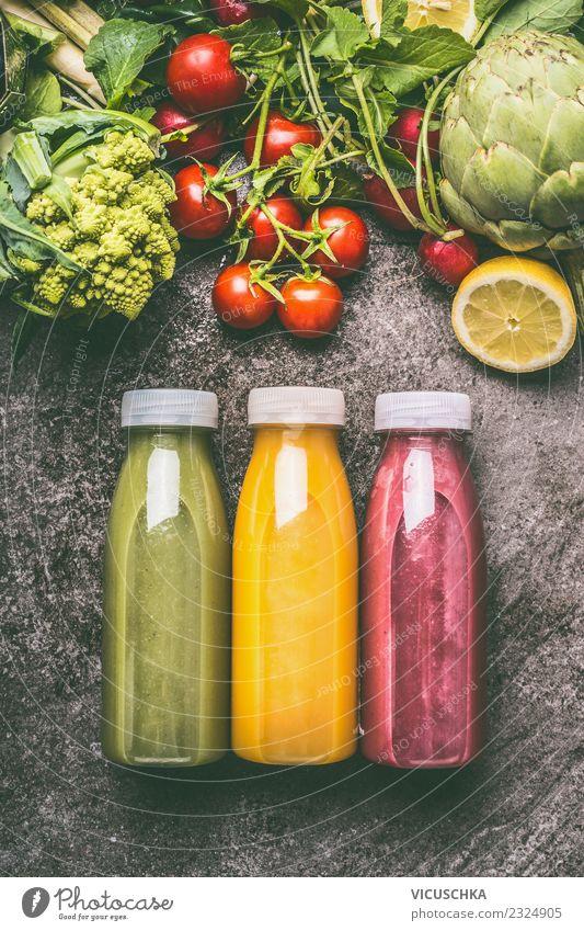 Bunte Smoothie Flaschen Lebensmittel Gemüse Frucht Getränk Erfrischungsgetränk Limonade Saft Stil Design Gesundheit Gesunde Ernährung gelb Milchshake