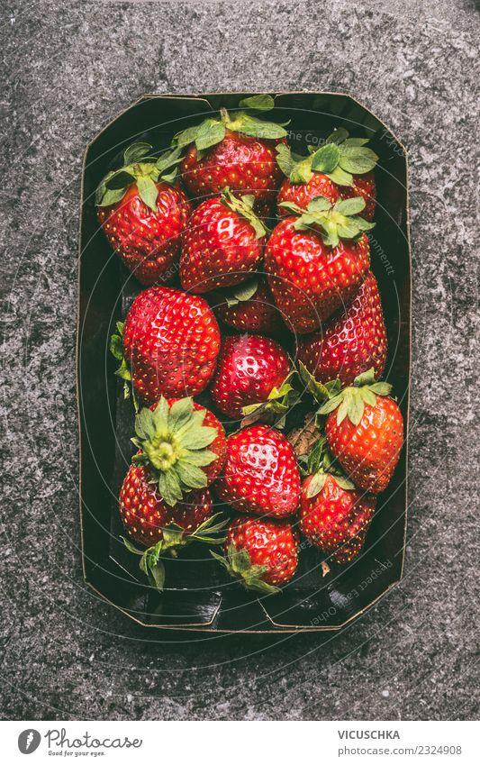 Erdbeeren Lebensmittel Frucht Ernährung Bioprodukte Vegetarische Ernährung Diät kaufen Stil Design Gesundheit Gesunde Ernährung Sommer Container Vitamin