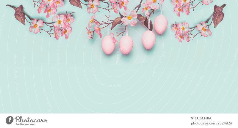 Pastel Ostern Hintergrund mit hängenden Ostereier Stil Design Feste & Feiern Frühling Pflanze Blume Blatt Blüte Dekoration & Verzierung Blumenstrauß Zeichen