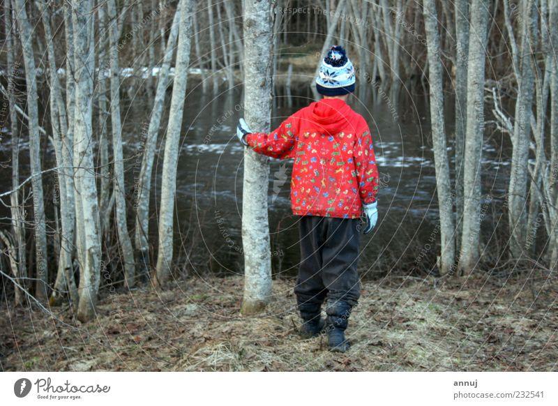Mensch Kind Natur Wasser Baum rot grau Stimmung Kindheit Kraft stehen einzigartig Neugier Fluss einfach Kontakt