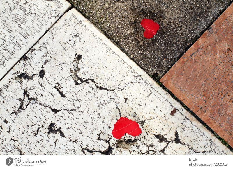 Herzangelegenheit rot Leben Straße Wege & Pfade Glück Stein Linie Kunst liegen Schilder & Markierungen Geburtstag Herz Zeichen Romantik Hoffnung Ostern