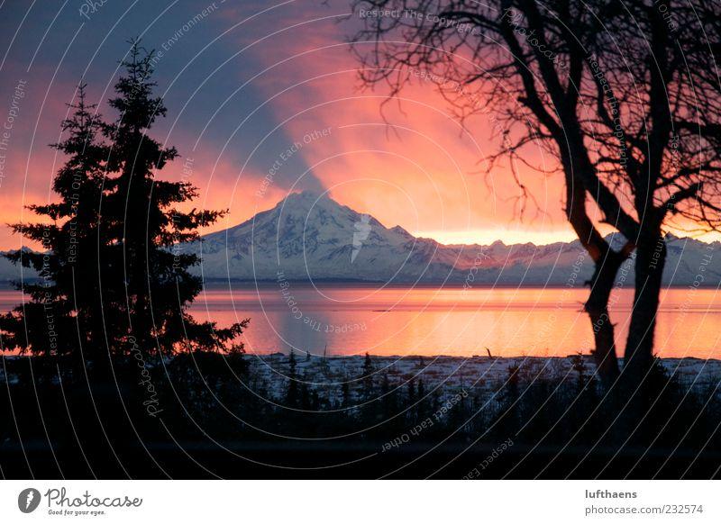 Smokin Hot Ferien & Urlaub & Reisen Tourismus Meer Berge u. Gebirge Natur Landschaft Wasser Sonnenaufgang Sonnenuntergang Winter Vulkan Mount Redoubt