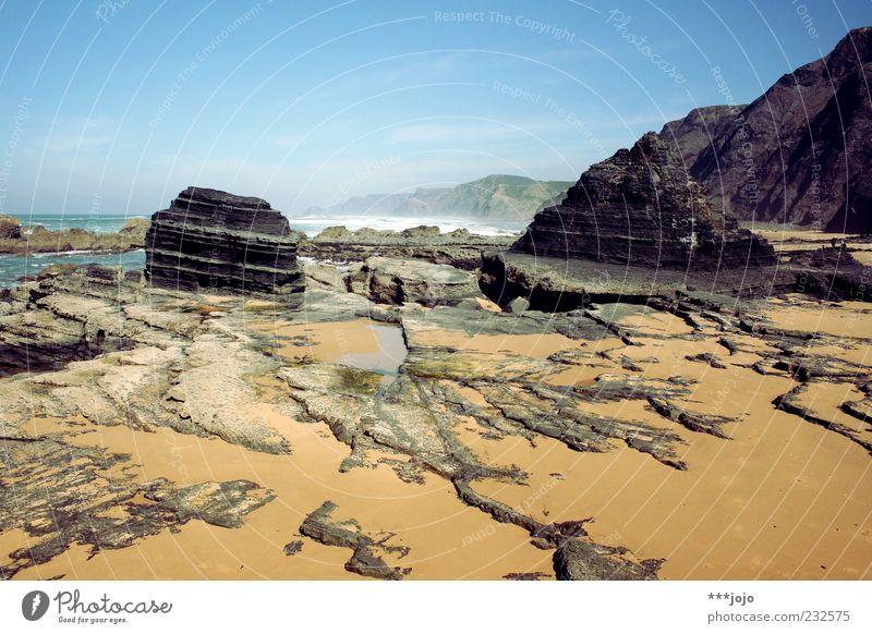 oceanic. praia do castelejo Ferien & Urlaub & Reisen Portugal Atlantik Felsen Küste Felsküste karg Landschaft Meer Naturgewalt Riff Sand Sandstein Sandstrand