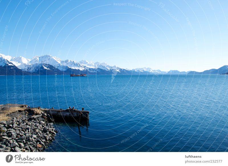 I see Seward! Natur blau Wasser weiß schön Meer Winter Ferne Berge u. Gebirge Küste Luft braun Zufriedenheit frei Unendlichkeit fantastisch