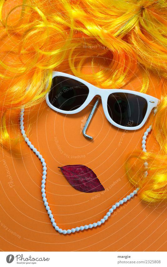 Emotionen...coole Gesichter: Marylin Frau Mensch Jugendliche Junge Frau weiß Erwachsene gelb feminin Haare & Frisuren orange Mund