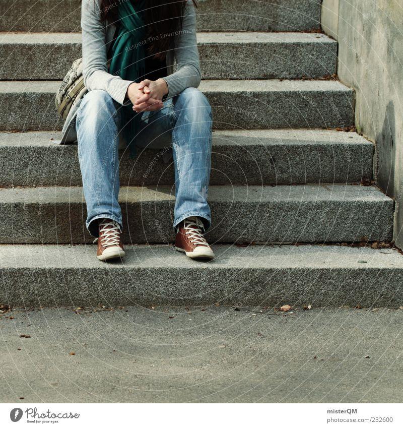 Freizeit. Frau Jugendliche Hand Erholung Freizeit & Hobby sitzen warten Treppe ästhetisch Zukunft Perspektive Lifestyle Jeanshose Jeansstoff Tasche Schal