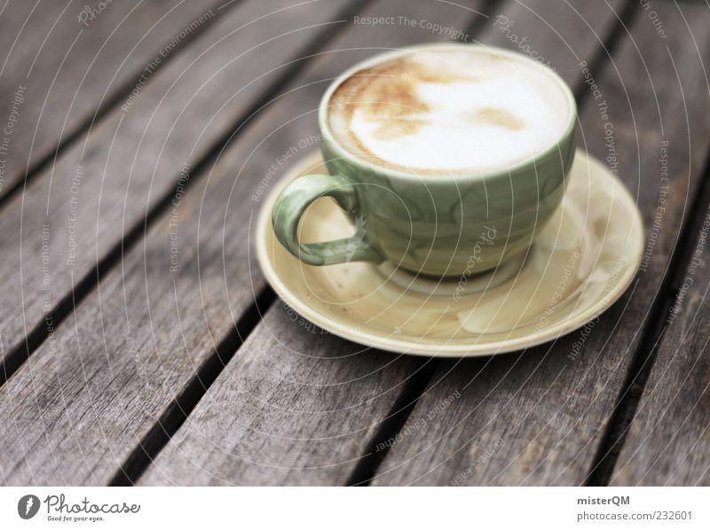 Alltagsflucht. ruhig Erholung Lebensmittel ästhetisch Tisch Getränk Pause Kaffee Tasse genießen Schaum Sucht abgelegen Alltagsfotografie Holztisch Kaffeetasse