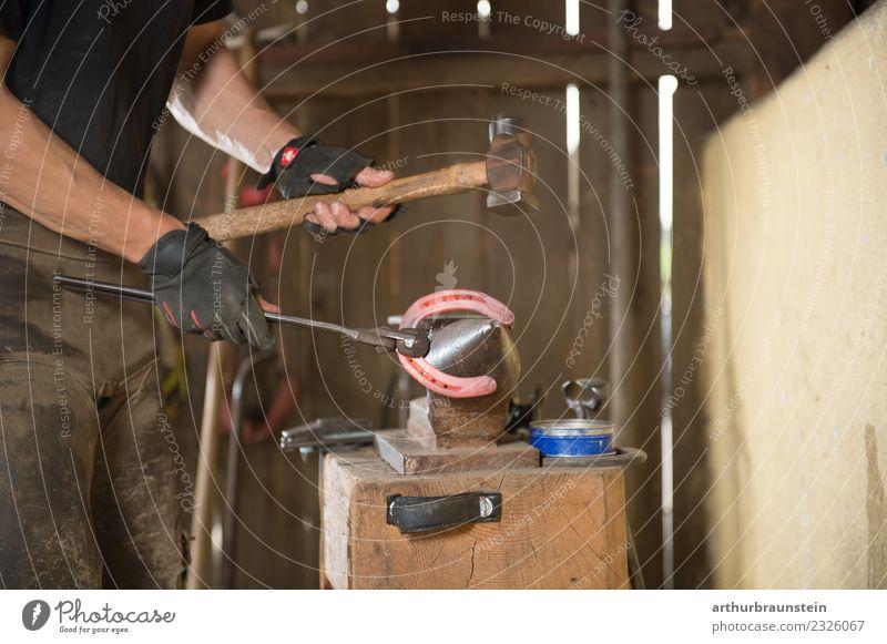 Hufschmied produziert mit dem Hammer ein Hufeisen am Amboss Mensch Jugendliche Junger Mann Erwachsene Holz Arbeit & Erwerbstätigkeit Freizeit & Hobby maskulin